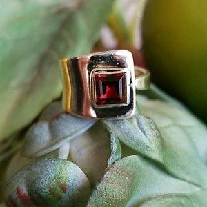 Garnet Wrap Ring Sterling Silver NEW